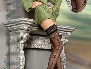 2202 BA Ballerina black stay-ups with silver lurex thread-Μαύρο