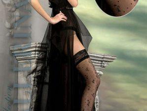 2204 BA Μαύρες κάλτσες με σιλικόνη και floral κέντημα-Μαύρο