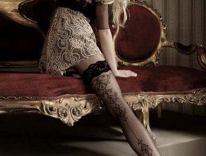 2234 BA Μαύρες κάλτσες με δαντέλα και σιλικόνη-Μαύρο