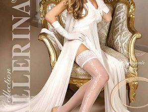 2243 BA Λευκές κάλτσες με σιλικόνη και δαντέλα-Ασπρο